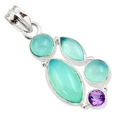 16.62cts natural aqua chalcedony amethyst 925 sterling silver pendant d45473