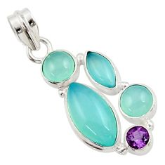 17.22cts natural aqua chalcedony amethyst 925 sterling silver pendant d45474