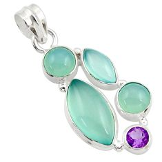 16.73cts natural aqua chalcedony amethyst 925 sterling silver pendant d45475