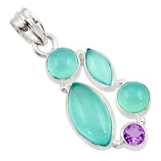 Clearance Sale- 16.62cts natural aqua chalcedony amethyst 925 sterling silver pendant d45478
