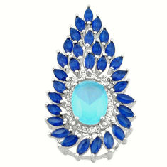 Natural aqua chalcedony sapphire quartz 925 silver pendant jewelry c22158