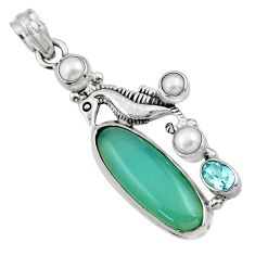 17.73cts natural aqua chalcedony topaz 925 silver seahorse pendant r44535
