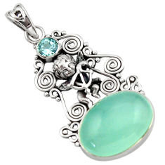 14.39cts natural aqua chalcedony topaz 925 sterling silver angel pendant d46750