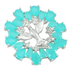 Natural aqua chalcedony topaz 925 sterling silver birds pendant jewelry c22833