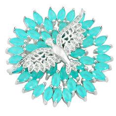 Natural aqua chalcedony topaz 925 sterling silver birds pendant jewelry c22839