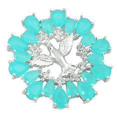 Natural aqua chalcedony topaz 925 sterling silver birds pendant jewelry c22881