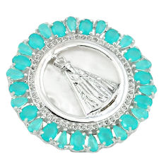Natural aqua chalcedony topaz 925 sterling silver pendant jewelry c22821