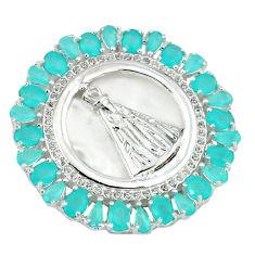 Natural aqua chalcedony topaz 925 sterling silver pendant jewelry c22822