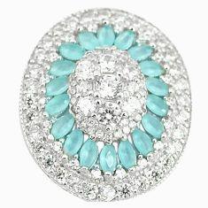 Natural aqua chalcedony topaz 925 sterling silver pendant jewelry c22888