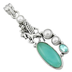 14.53cts natural aqua chalcedony topaz 925 sterling silver pendant r44536