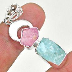 12.96cts natural aquamarine rough rose quartz moon 925 silver pendant t33621
