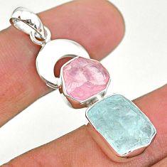 13.27cts natural aquamarine rough rose quartz moon 925 silver pendant t33622