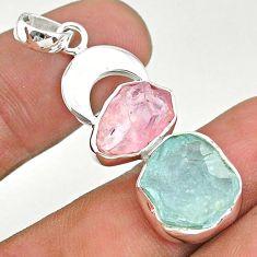 12.43cts natural aquamarine rough rose quartz moon 925 silver pendant t33625