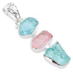 10.21cts natural aquamarine raw rose quartz rough 925 silver pendant t33311