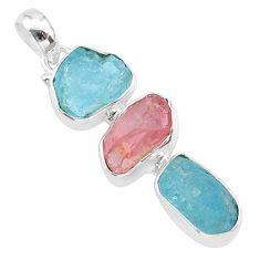 13.09cts natural aquamarine raw rose quartz rough 925 silver pendant t33317