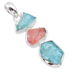 10.79cts natural aquamarine raw rose quartz rough 925 silver pendant t33318