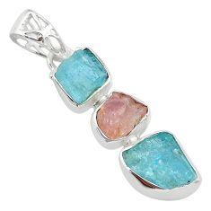 11.25cts natural aquamarine raw rose quartz rough 925 silver pendant t33319