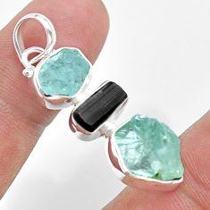 11.55cts natural aquamarine raw tourmaline raw 925 silver pendant t33371