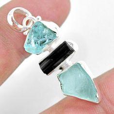 10.79cts natural aquamarine raw tourmaline raw 925 silver pendant t33379