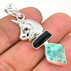 11.27cts natural aquamarine rough tourmaline raw silver unicorn pendant t33657