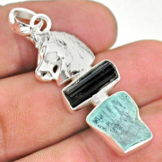 11.23cts natural aquamarine rough tourmaline raw silver unicorn pendant t33659