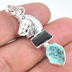 11.27cts natural aquamarine rough tourmaline raw silver unicorn pendant t33679