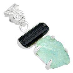15.31cts natural aquamarine raw tourmaline rough 925 silver pendant r83007