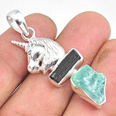 11.02cts natural aquamarine raw tourmaline rough silver horse pendant r80762