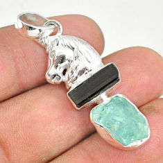 11.71cts natural aquamarine raw tourmaline rough silver horse pendant r80763