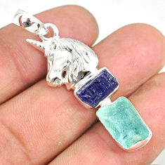 11.71cts natural aquamarine raw tourmaline rough silver horse pendant r80765