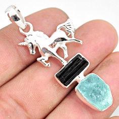 11.95cts natural aquamarine raw tourmaline rough silver horse pendant r80827
