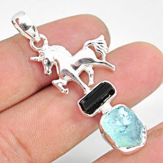 10.64cts natural aquamarine raw tourmaline rough silver horse pendant r80828