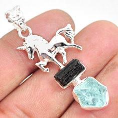 11.63cts natural aquamarine raw tourmaline rough silver horse pendant r80829