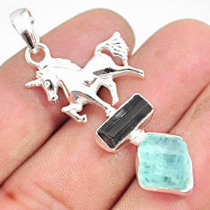 11.30cts natural aquamarine raw tourmaline rough silver horse pendant r80830