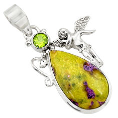 Clearance Sale- Natural atlantisite stichtite-serpentine silver angel wings fairy pendant d42082