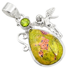 Clearance Sale- Natural atlantisite stichtite-serpentine silver angel wings fairy pendant d42083