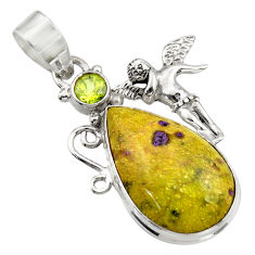 Clearance Sale- Natural atlantisite stichtite-serpentine silver angel wings fairy pendant d42084
