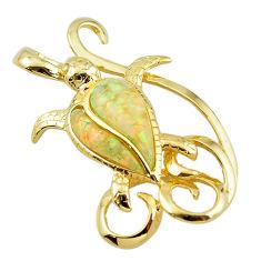 Natural australian opal (lab) 925 silver 14k gold turtle pendant a61032 c15295