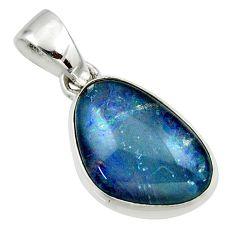 9.55cts natural australian opal triplet 925 silver pendant r42424