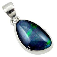 9.46cts natural australian opal triplet 925 silver pendant r42440