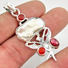 15.33cts natural biwa pearl cornelian silver angel wings fairy pendant d47302