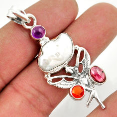 16.70cts natural biwa pearl cornelian silver angel wings fairy pendant d47303