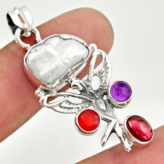 11.89cts natural biwa pearl cornelian silver angel wings fairy pendant d47306
