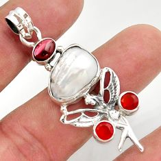 12.83cts natural biwa pearl cornelian silver angel wings fairy pendant d47308