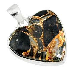 14.68cts natural black australian obsidian 925 silver heart pendant r83231
