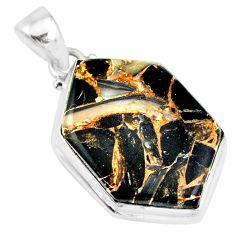 13.70cts natural black australian obsidian 925 sterling silver pendant r83417