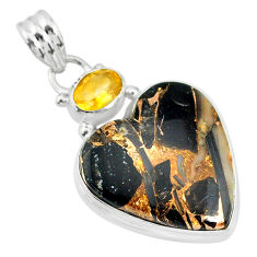 14.72cts natural black australian obsidian citrine 925 silver pendant r83471