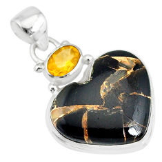 14.72cts natural black australian obsidian citrine 925 silver pendant r83516