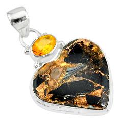 14.68cts natural black australian obsidian citrine 925 silver pendant r83519