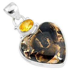16.18cts natural black australian obsidian citrine 925 silver pendant r83520